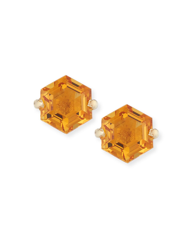 Amalfi 14k Yellow Gold Hexagon Stud Earrings