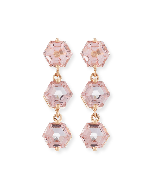 Bloom 14k Rose Gold 3 Hexagon Drop Earrings