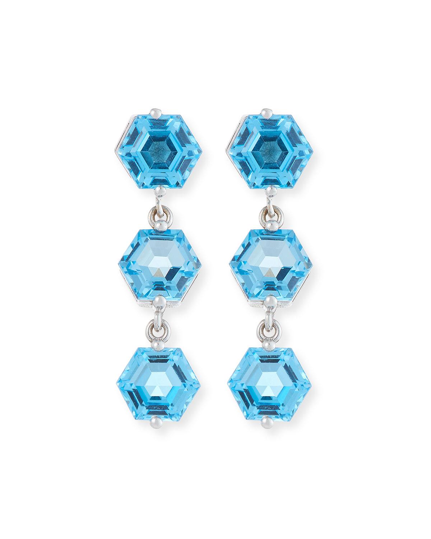Bloom 14k White Gold 3 Hexagon Drop Earrings