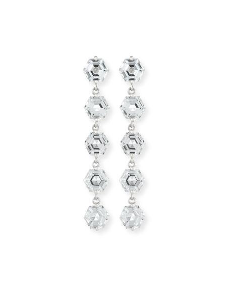 KALAN by Suzanne Kalan Bloom 14k White Gold 5 Hexagon Drop Earrings, White