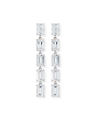 Bloom 14k White Gold 5 Emerald-Cut Drop Earrings, White