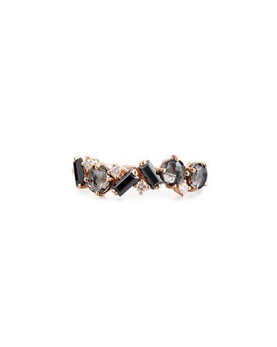 Bloom 14k Rose Gold Amalfi Mix Ring, Black, Size 4-8.5