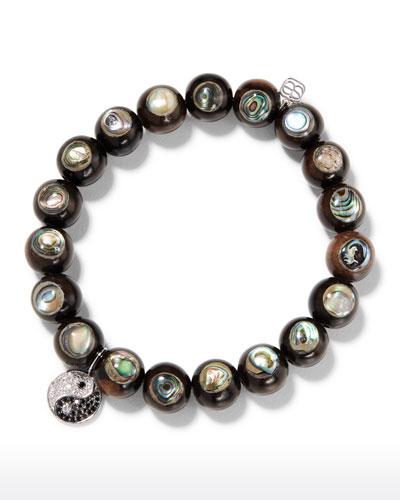 14k Yin Yang Diamond & Abalone Wood Bracelet