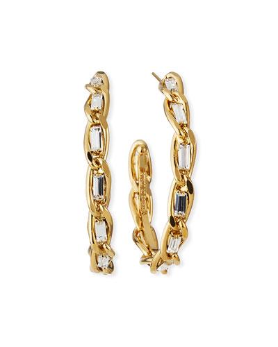 Large Slim Crystal & Chain Hoop Earrings