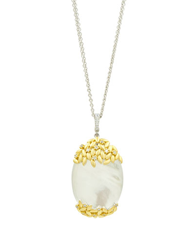 Fleur Bloom Mother-of-Pearl Oval Pendant Necklace