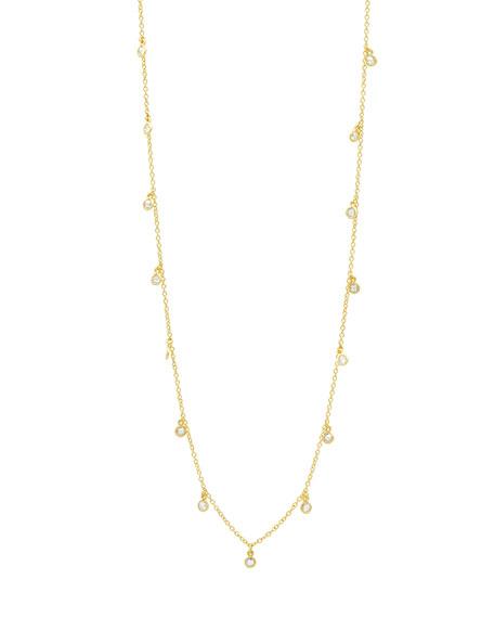 "Freida Rothman Signature Bezel Droplet Necklace, 40""L"
