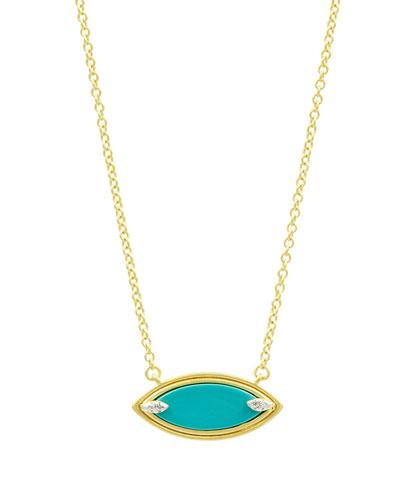 Fleur Bloom Empire Turquoise Pendant Necklace