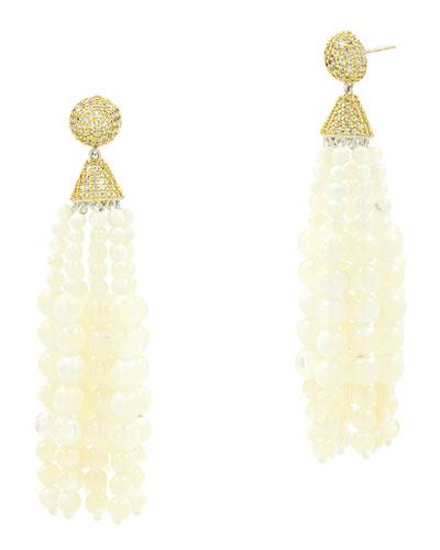 Fleur Bloom Empire Mother-of-Pearl Fringe Drop Earrings
