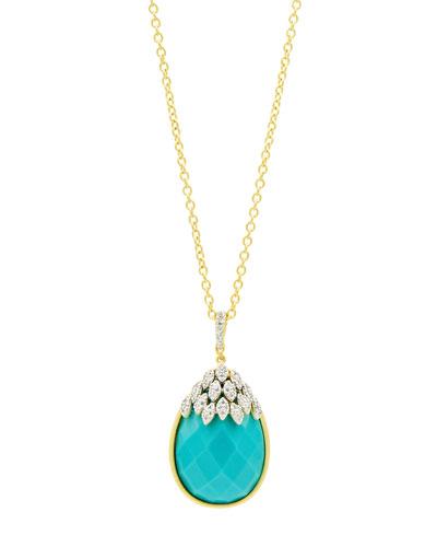 Fleur Bloom Empire Turquoise Teardrop Pendant Necklace