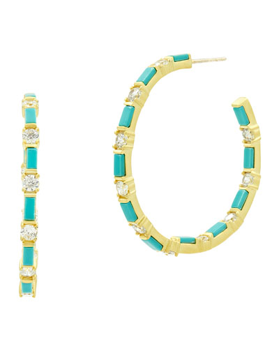 Color Theory Turquoise Hoop Earrings, Clear/Turquoise