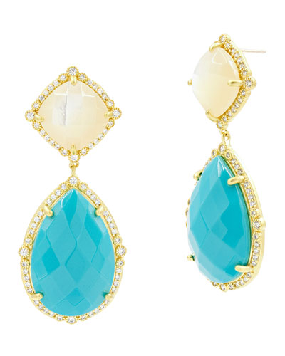 Color Theory Double-Drop Earrings, White/Turquoise