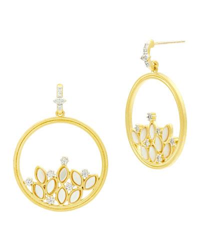 Fleur Bloom Mother-of-Pearl Cluster Hoop Earrings