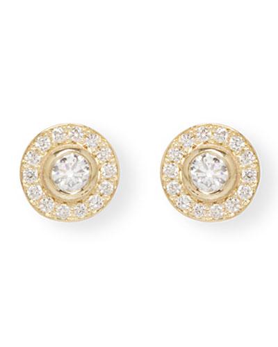 14k Diamond Bezel & Halo Stud Earrings