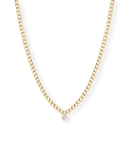14k Small Round-Cut Diamond Chain Necklace