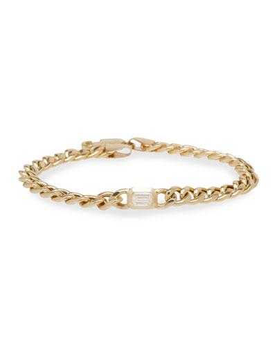 14k Emerald-Cut Diamond Chain Bracelet, 6.5