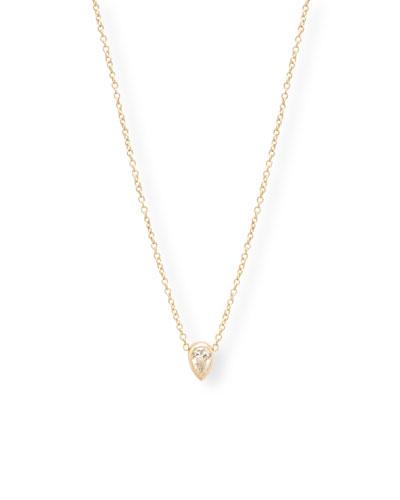 14k Gold Diamond-Pear Necklace