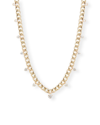 14k Medium Curb Chain Necklace w/ Diamonds