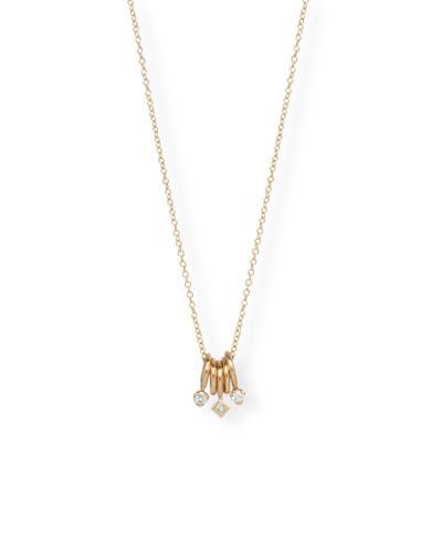 14k Gold 5-Ring Necklace w/ Diamonds
