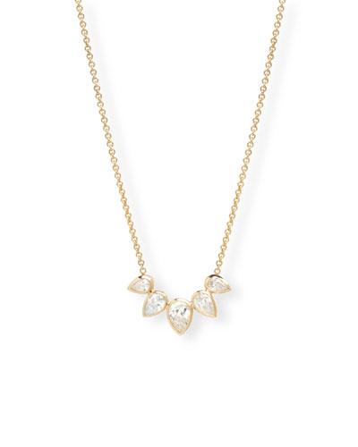 14k Gold 5 Diamond-Pear Necklace