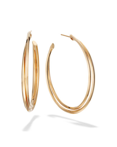 14k Gold Twist Hoop Earrings, 45mm