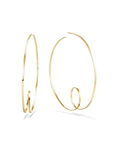 14k Curly-Shaped Hoop Earrings, 80mm