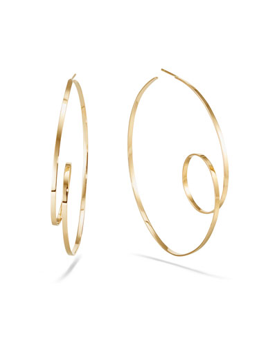 14k Gold Flat-Loop Hoop Earrings, 60mm