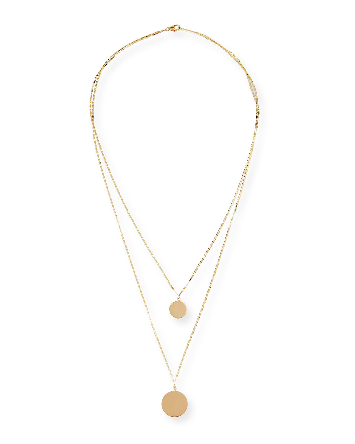 14k Disc Double-Layer Necklace