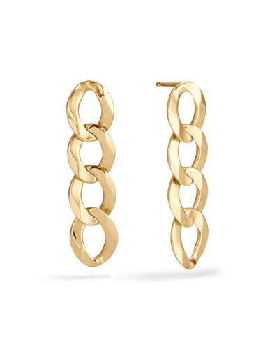 14k Curb-Chain Drop Earrings