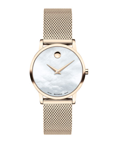28mm Museum Classic Mesh Bracelet Watch, Carnation