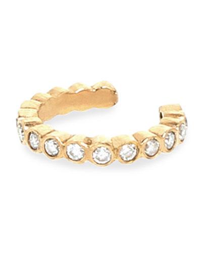 14k Diamond-Bezel Ear Cuff
