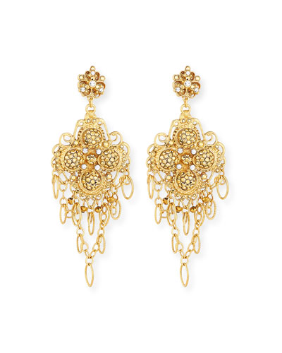 Large Filigree Chain & Crystal Clip-On Earrings