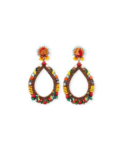 Meri Bead & Crystal Teardrop Earrings