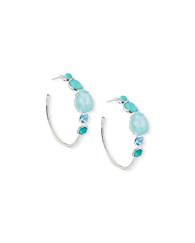Rock Candy Mixed-Stone #3 Hoop Earrings in Waterfall