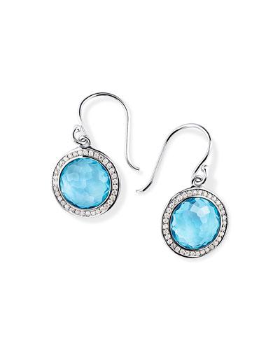 Lollipop Drop Earrings w/ Diamonds, Light Blue