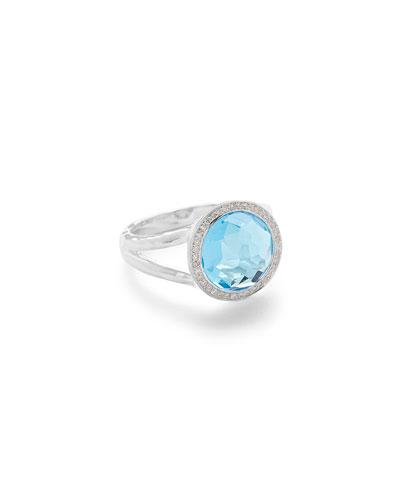 Mini Lollipop Ring in Swiss Blue Topaz w/ Diamonds,
