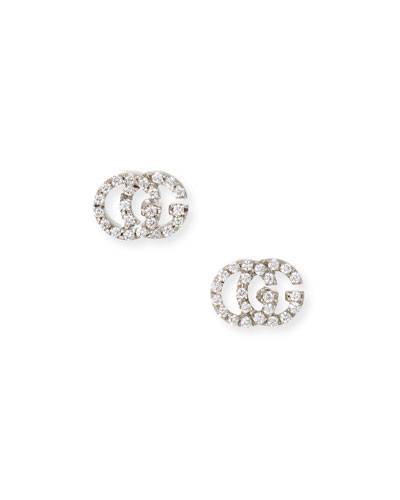 1689db4e356 Quick Look. Gucci · Running G Pave Diamond Stud Earrings in 18K White Gold