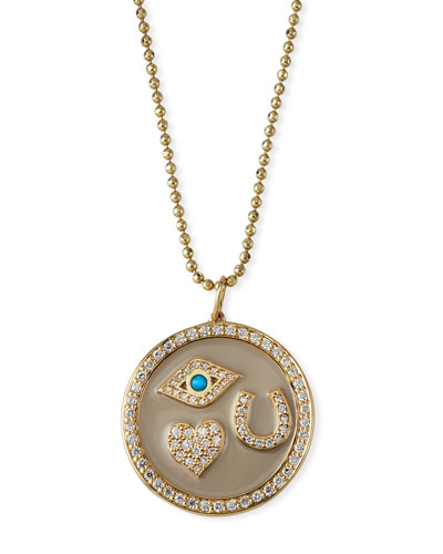 14k Protection Tableau Diamond Medallion Necklace