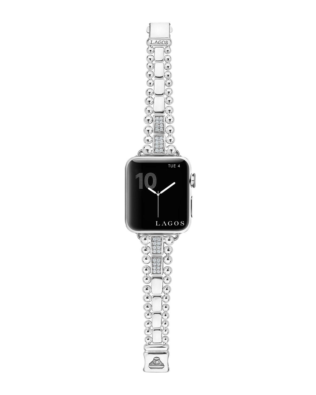 Lagos Watches SMART CAVIAR BRACELET WATCH STRAP W/ DIAMONDS, MEDIUM