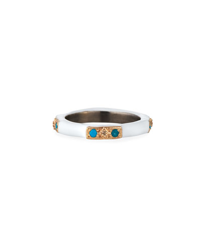 New World 14k Rose Gold Enamel Ring w/ Diamonds & Turquoise, Size 6.5