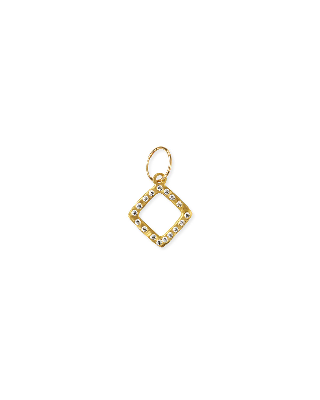 18k Diamond-Compass Earring w/ Cubic Zirconia