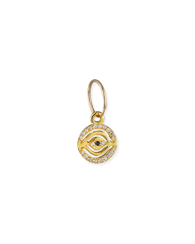 18k Pave Eye of Horus Earring w/ Black Diamond