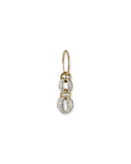 Lee Brevard Lotus Heart Drop Single Earring with CZ