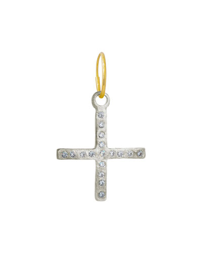 Compass Cross Earring w/ Cubic Zirconia, Single