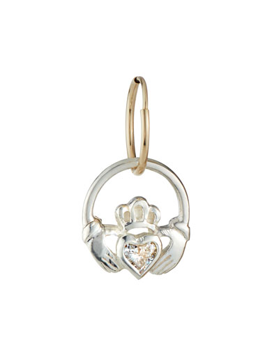 Claddagh Drop Earring w/ Cubic Zirconia, Single