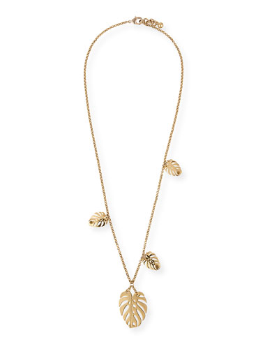 Botanica Long Leaf Pendant Necklace, 35