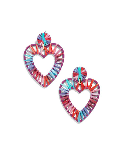 Regina Raffia Heart Earrings