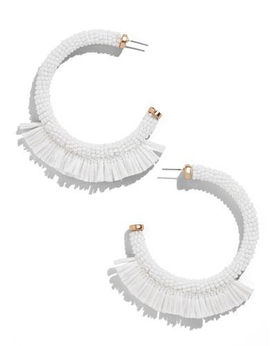 Reisa Raffia Hoop Earrings, White