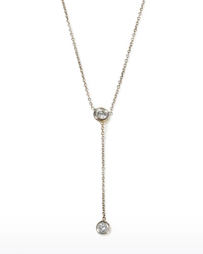 5af76eacd451b9 Quick Look. Roberto Coin · 18k White Gold Diamond-Bezel Y-Drop Necklace