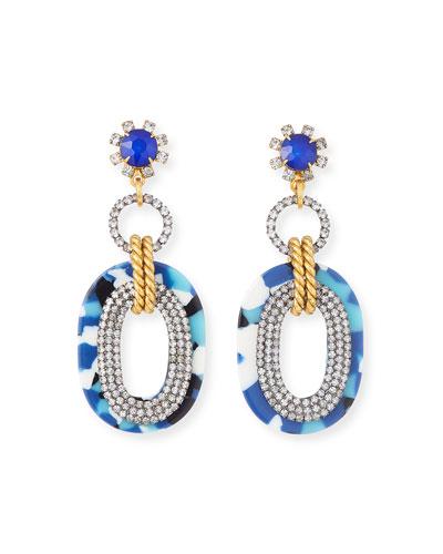 Aria Marble Oversized Drop Earrings, Blue