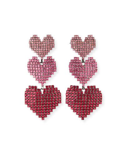Valentina Triple-Heart Drop Earrings